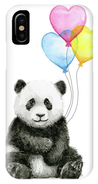 Jungle iPhone Case - Baby Panda With Heart-shaped Balloons by Olga Shvartsur