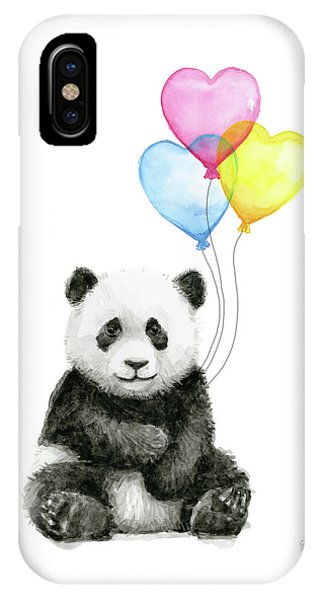 Babies iPhone Case - Baby Panda With Heart-shaped Balloons by Olga Shvartsur