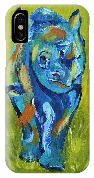 iPhone Case - Baby Rhino Animal Art Painting by Catherine Jeltes