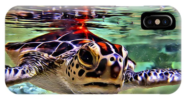 Reef Diving iPhone Case - Baby Turtle by Anthony C Chen