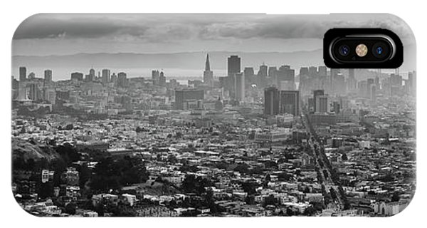 Back And White View Of Downtown San Francisco In A Foggy Day IPhone Case