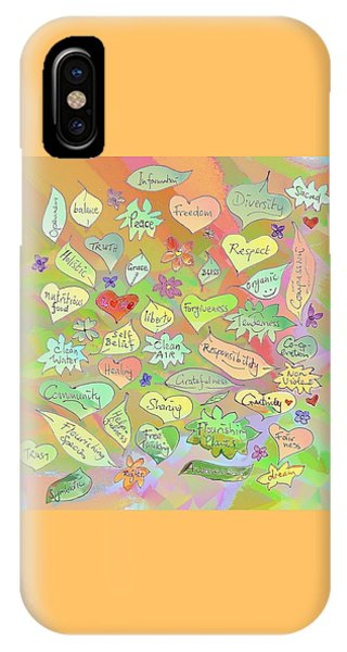 Back To The Garden Leaves, Hearts, Flowers, With Words IPhone Case