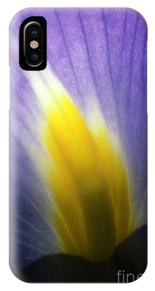 Backlit Iris Flower Petal Close Up Purple And Yellow IPhone Case