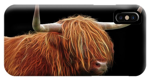Bad Hair Day - Highland Cow - On Black IPhone Case