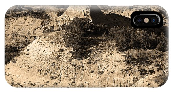 North Dakota Badlands iPhone Case - Badlands Sepia by Frank Romeo