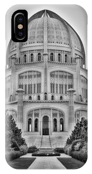 Baha'i Temple - Wilmette - Illinois - Vertical Black And White IPhone Case