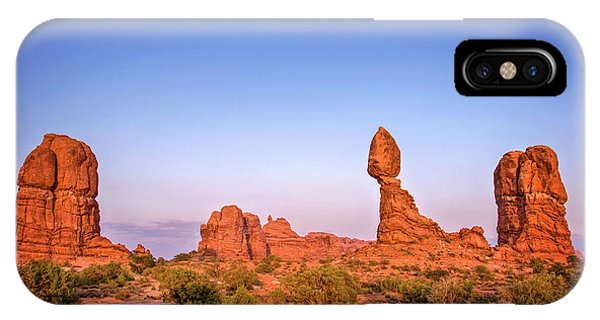 Us National Parks iPhone Case - Balanced Rock, Arches National Park by Delphimages Photo Creations