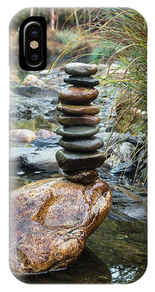 Balancing Zen Stones In Countryside River Vi IPhone Case