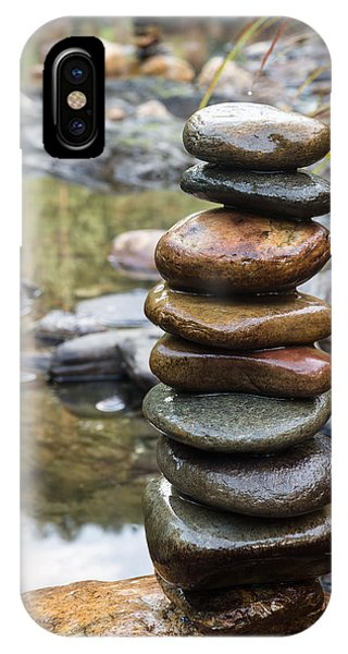 Balancing Zen Stones In Countryside River Vii IPhone Case