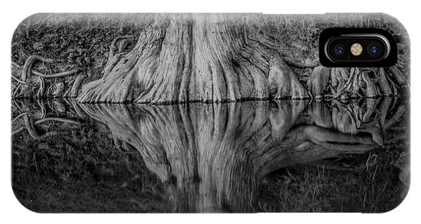 Bald Cypress Reflection In Black And White IPhone Case