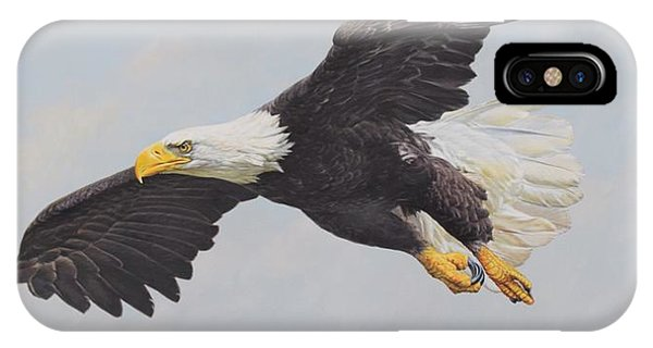 IPhone Case featuring the painting Bald Eagle by Alan M Hunt