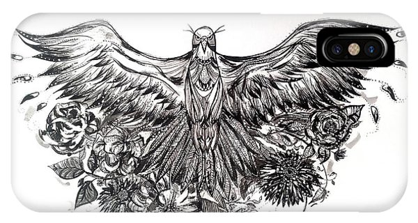 Pen And Ink Drawings For Sale iPhone Case - Bald Eagle And Flowers by Kremena Petkova