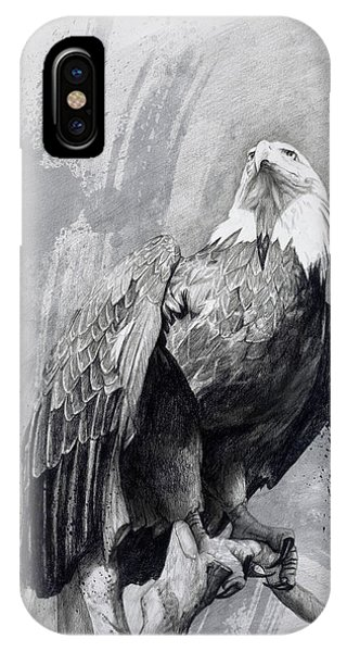 Graphite iPhone Case - Bald Eagle Drawing by Steve Goad