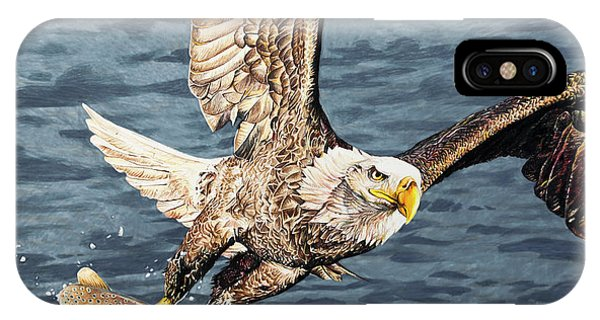 Hyper Realism iPhone Case - Bald Eagle Fishing  by Aaron Spong
