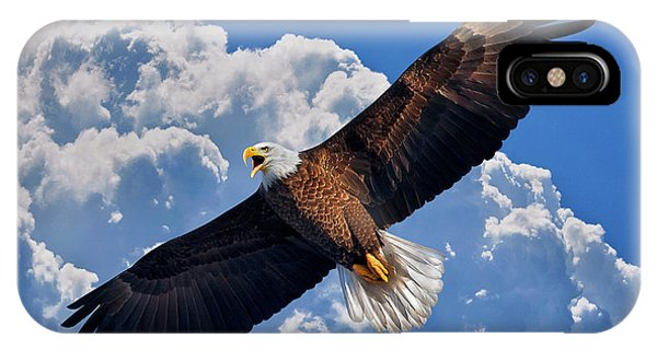 Bald Eagle In Flight Calling Out IPhone Case