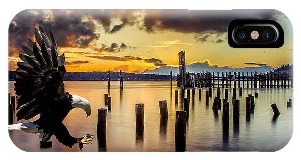 Bald Eagle Landing At Beach As Sun Sets IPhone Case