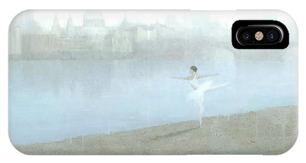IPhone Case featuring the painting Ballerina On The Thames by Steve Mitchell