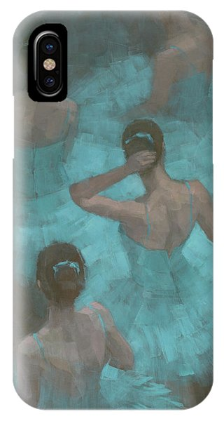 IPhone Case featuring the painting Ballerinas In Blue by Steve Mitchell