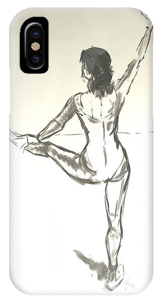 Ballet Dancer With Left Leg On Bar IPhone Case
