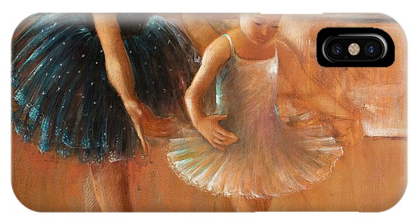 ballet lesson-painting on leather by Vali Irina Ciobanu  IPhone Case