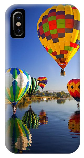 Hot Air Balloons iPhone Case - Balloon Reflections by Mike  Dawson