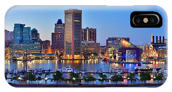 Baltimore Skyline Inner Harbor Panorama At Dusk IPhone Case