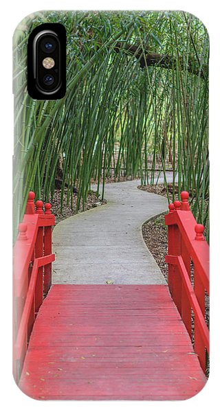 Bamboo Path Through A Red Bridge IPhone Case