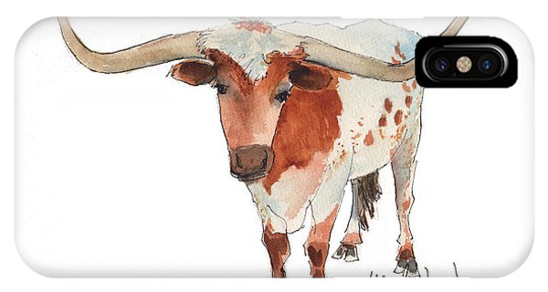 Texas Longhorn Bandero Watercolor Painting By Kmcelwaine IPhone Case