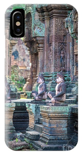 Cambodia iPhone Case - Banteay Srey Temple Pink Monkeys by Mike Reid