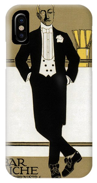 Bar iPhone Case - Bar Riche - Gentleman In Tuxedo - Vintage Advertising Poster by Studio Grafiikka