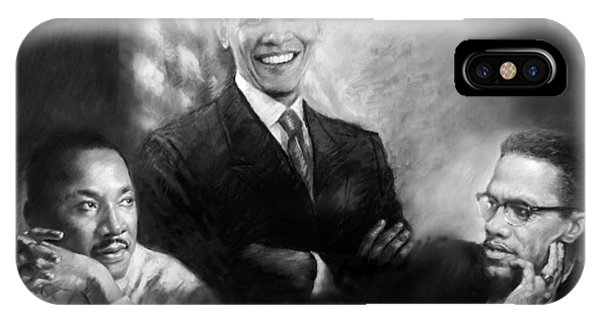 Barack Obama iPhone Case - Barack Obama Martin Luther King Jr And Malcolm X by Ylli Haruni