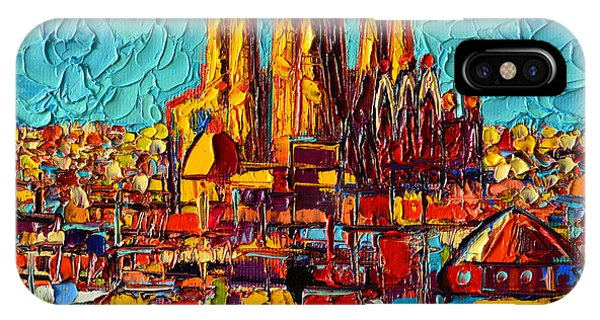 Barcelona Abstract Cityscape - Sagrada Familia IPhone Case