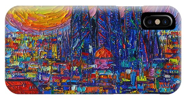 Barcelona Colorful Sunset Over Sagrada Familia Abstract City Knife Oil Painting Ana Maria Edulescu IPhone Case