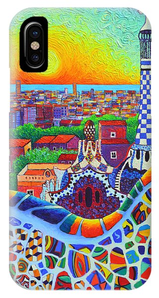 Barcelona Park Guell Sunrise Gaudi Tower Textural Impasto Knife Oil Painting By Ana Maria Edulescu IPhone Case