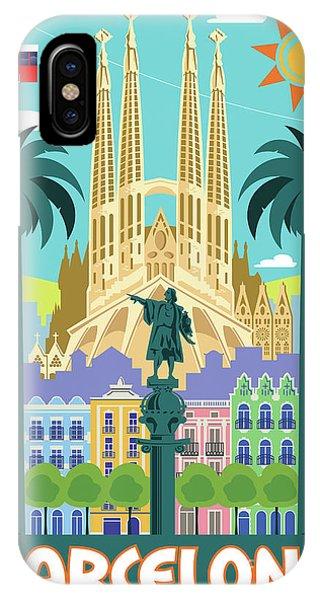 1960s iPhone Case - Barcelona Poster - Retro Travel  by Jim Zahniser