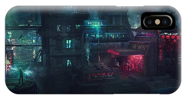 Barcelona iPhone Case - Barcelona Smoke And Neons Eixample by Guillem H Pongiluppi