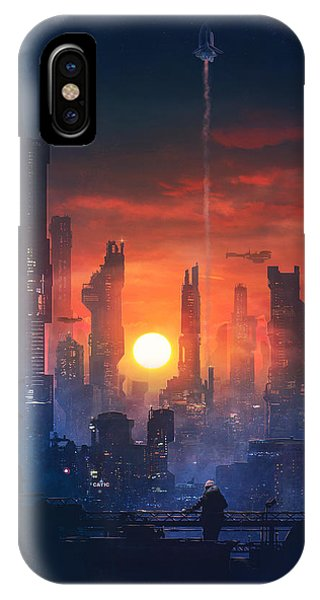 Neon iPhone Case - Barcelona Smoke And Neons The End by Guillem H Pongiluppi