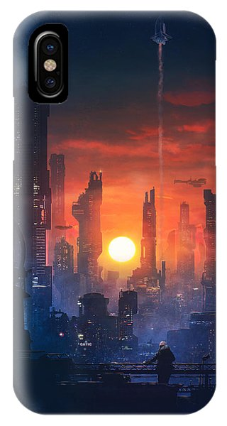 Skyline iPhone Case - Barcelona Smoke And Neons The End by Guillem H Pongiluppi
