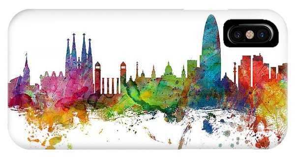 Paris iPhone Case - Barcelona Spain Skyline Panoramic by Michael Tompsett