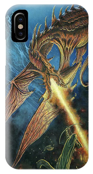 IPhone Case featuring the painting Bard Faces Smaug by Kip Rasmussen