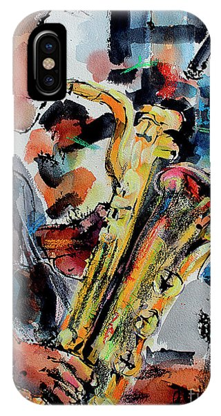 IPhone Case featuring the painting Baritone Saxophone Mixed Media Music Art by Ginette Callaway