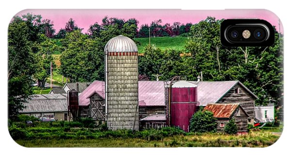 Barn And Silo With Infrared Touch Of Pink Effect IPhone Case