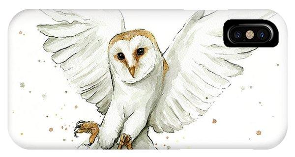 Bird Watercolor iPhone Case - Barn Owl Flying Watercolor by Olga Shvartsur