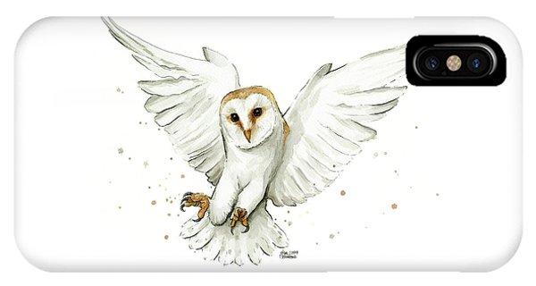 Bird iPhone Case - Barn Owl Flying Watercolor by Olga Shvartsur
