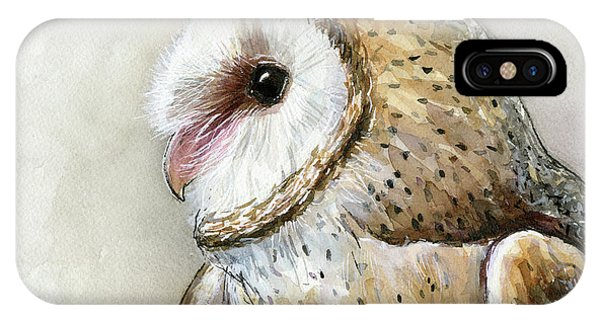 Bird Watercolor iPhone Case - Barn Owl Watercolor by Olga Shvartsur