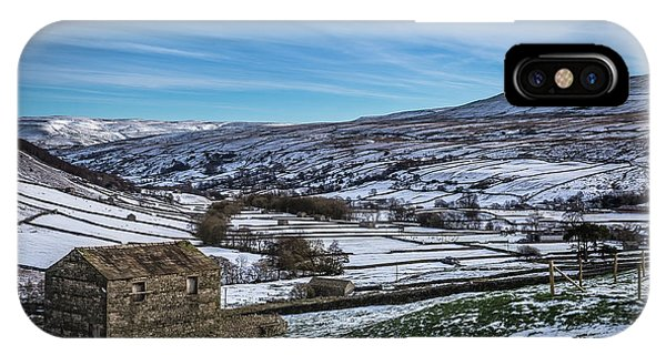 Barn View In The Snow. Phone Case by Yorkshire In Colour