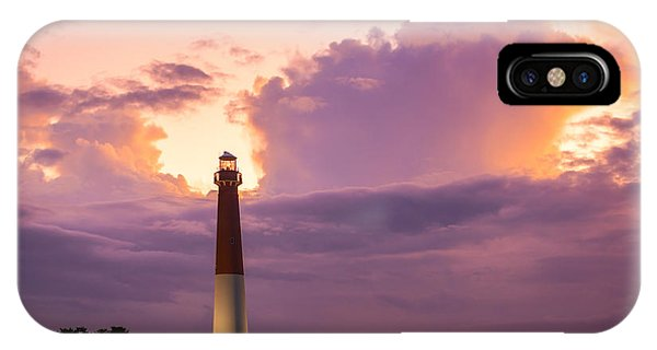 Lighthouse Wall Decor iPhone Case - Barnegat Lighthouse Stormy Sunset by Michael Ver Sprill