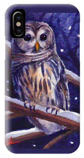 Barred Owl And Starry Sky IPhone Case