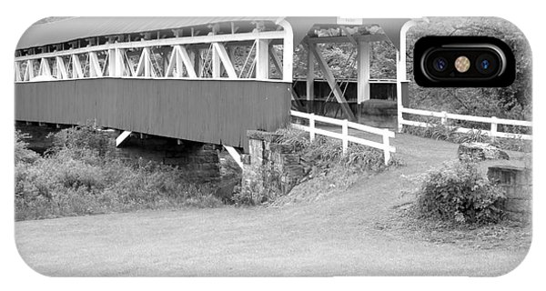 Somerset County iPhone Case - Barron's Covere Bridge In Black And White by Adam Jewell