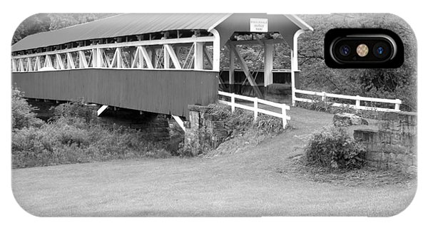 Somerset County iPhone Case - Barronvale Covered Bridge Black And White by Adam Jewell